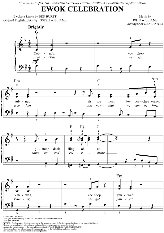 Tablature de la musique Ewok Celebration de John Williams pour Star Wars épisode VI : Le retour du Jedi