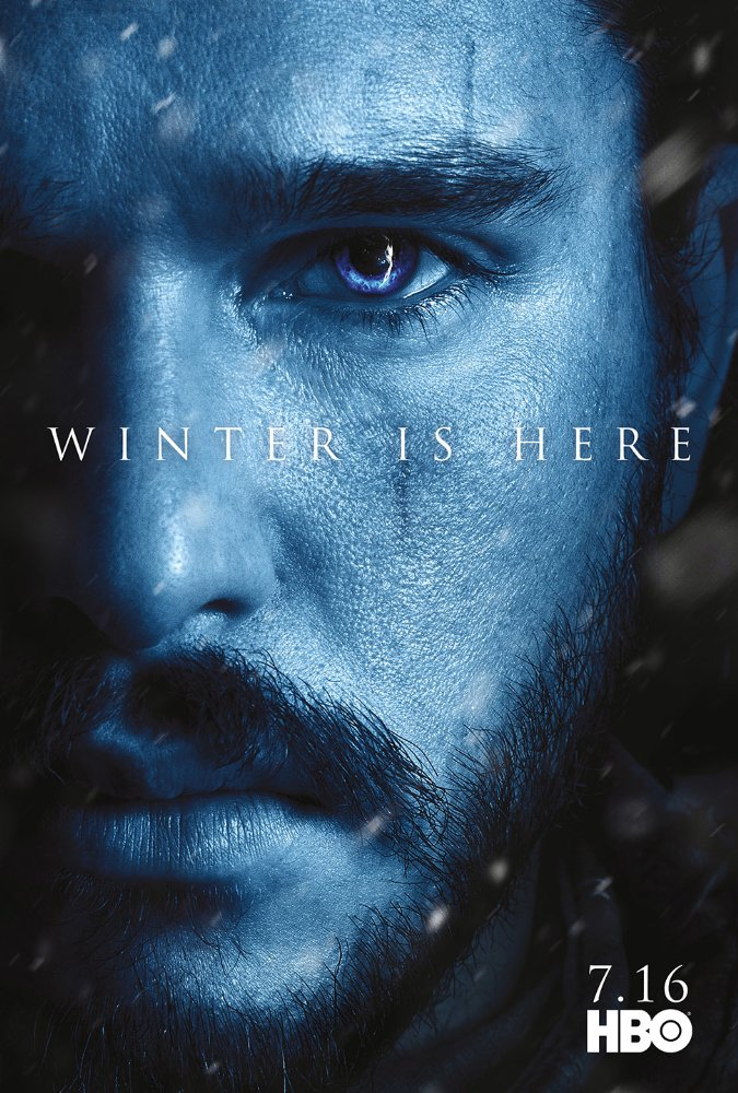 Affiche promotionnelle de la saison 7 de Game of Thrones représentant Jon Snow