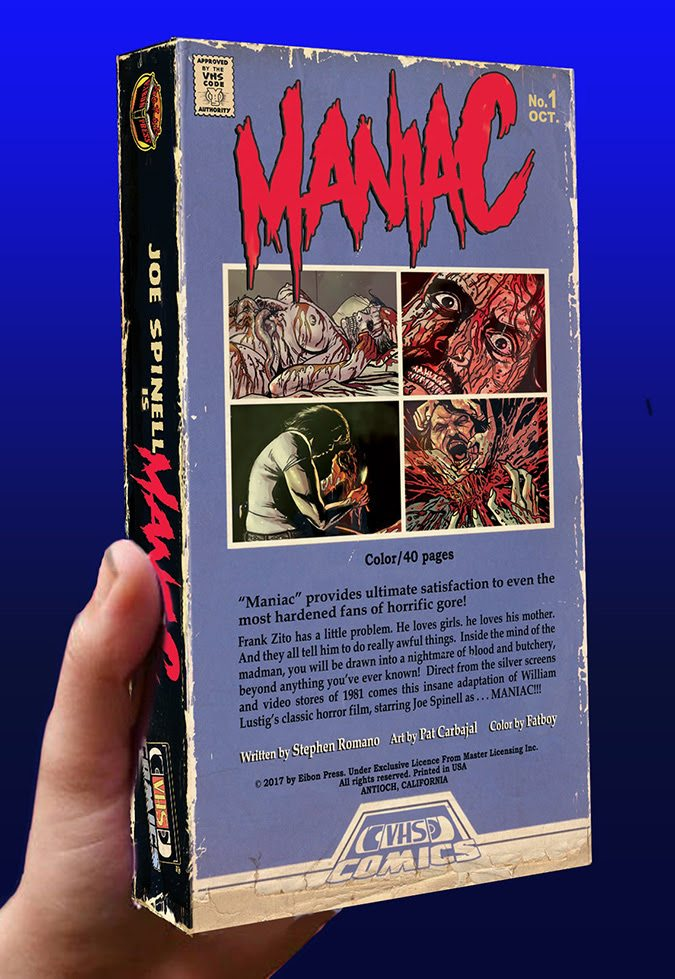 Image de la version VHS Comics du film Maniac par l'éditeur Eibon Press