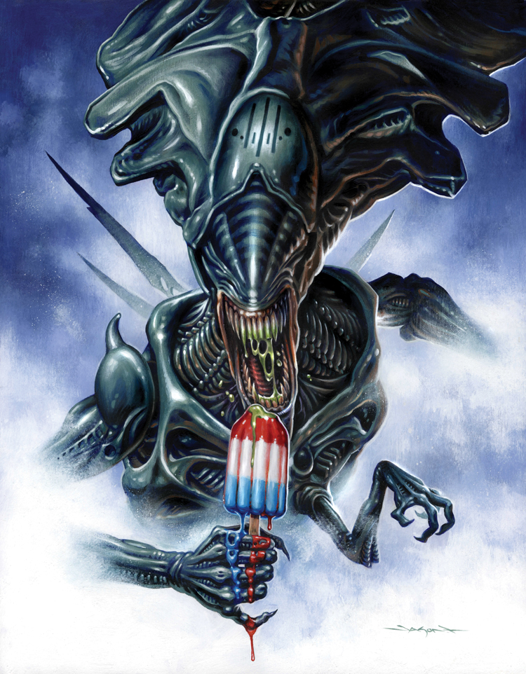 Fan art de Jason Edmiston représentant la reine Alien du film Aliens