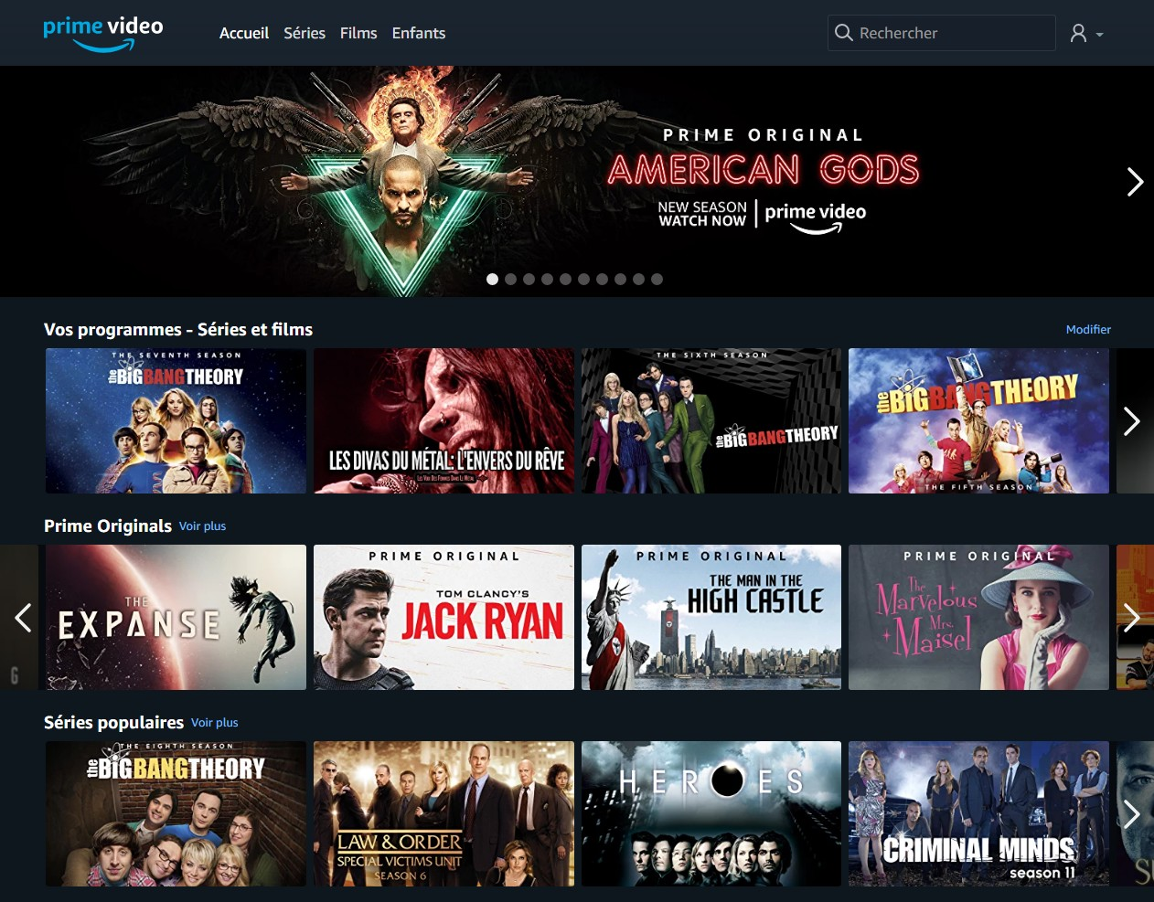 Capture d'écran du service Amazon Prime Video