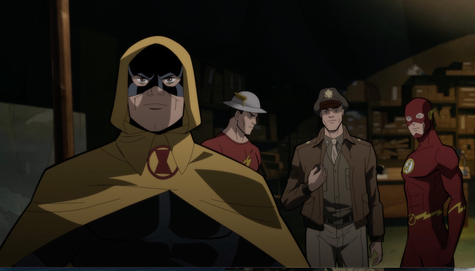 Image de Hourman, Jay Garrick, Steve Trevor et The Flash dans le film d'animation Justice Society : World War II
