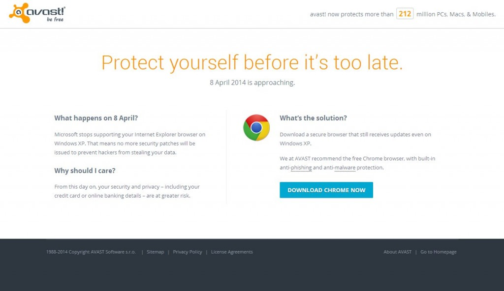 Windows XP : Avast recommande Chrome